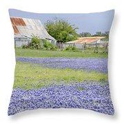 Blue Bonnets Barn V2 Throw Pillow