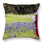 Blue Bonnets Fire Hydrant V2 Throw Pillow