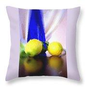 Blue Bottle And Lemons Throw Pillow by Ben and Raisa Gertsberg