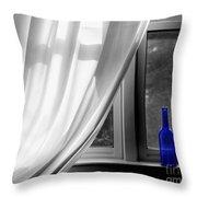 Blue Bottle Throw Pillow by Diane Diederich
