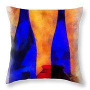 Blue Bottles Photo Art Throw Pillow