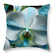 Blue Bow Orchid Throw Pillow