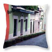 Blue Brick Street Old San Juan Throw Pillow