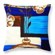 Blue Buds Floral Throw Pillow