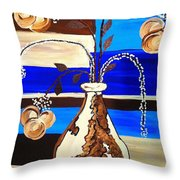 Blue Buds Multi Floral Throw Pillow