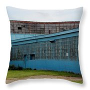 Blue Building In Delaware Ohio Throw Pillow