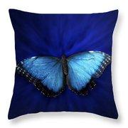 Blue Butterfly Ascending 02 Throw Pillow