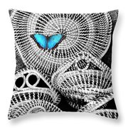 Blue Butterfly Charleston Throw Pillow