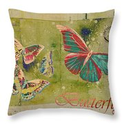 Blue Butterfly Etc - S55ct01 Throw Pillow