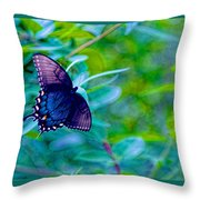 Blue Butterfly Fantasy Throw Pillow