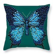 Blue Butterfly Green Background Throw Pillow
