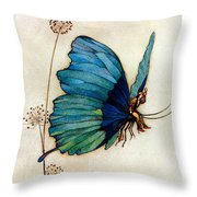 Blue Butterfly II Throw Pillow by Warwick Goble