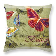 Blue Butterfly - Orange On Green - S02a Throw Pillow by Variance Collections