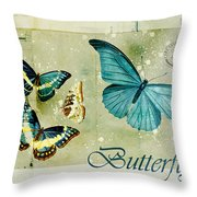 Blue Butterfly - S55c01 Throw Pillow by Variance Collections