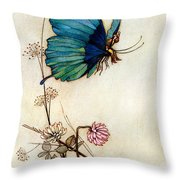 Blue Butterfly Throw Pillow by Warwick Goble