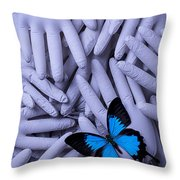 Blue Butterfly With Gary Hands Throw Pillow by Garry Gay