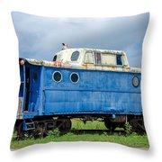 Blue Caboose Throw Pillow