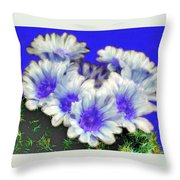 Blue Cactus Flowers Throw Pillow