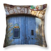 Blue Cafe Doors Throw Pillow