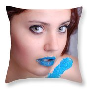 Blue Candy Throw Pillow