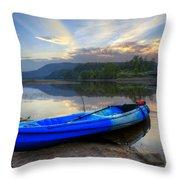 Blue Canoe At Sunset Throw Pillow