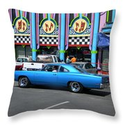 Blue Car With Colorful Background Throw Pillow