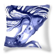 Blue Carrousel Horse Throw Pillow