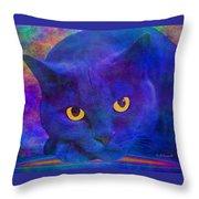 Blue Cat Ponders Throw Pillow