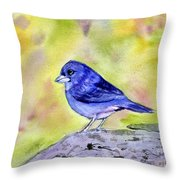 Blue Chaffinch Throw Pillow