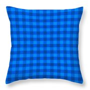Blue Checkered Tablecloth Fabric Background Throw Pillow