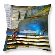 Blue Chevy   Throw Pillow