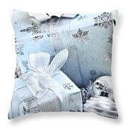 Blue Christmas Gift Boxes Throw Pillow
