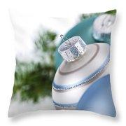 Blue Christmas Ornaments Throw Pillow