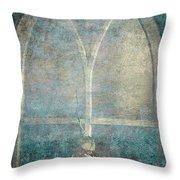 Blue Church Window And Hydrangea Throw Pillow