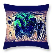 A Blue Circle Of Horses In Blue  Throw Pillow