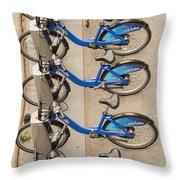 Blue City Bikes Throw Pillow