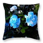 Blue Carnations Throw Pillow