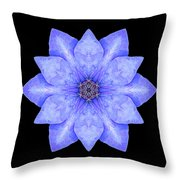Blue Clematis Flower Mandala Throw Pillow