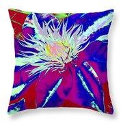 Blue Clematis Throw Pillow