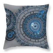 Blue Clockwork Machine Throw Pillow