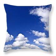 Blue Cloudy Sky Panorama Throw Pillow