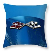 Blue Corvette Throw Pillow