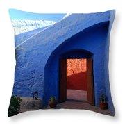 Blue Courtyard Throw Pillow
