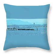 Blue Customs Throw Pillow