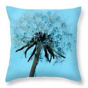 Blue Dandelion Wish Throw Pillow