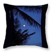 Blue Dawn Moon Throw Pillow