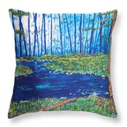 Blue Day Stream Throw Pillow