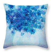 Blue Delphiniums Throw Pillow