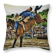 Blue Denim Rider Throw Pillow