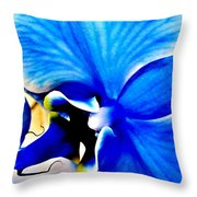 Blue Diamond Orchid Close Up Throw Pillow
